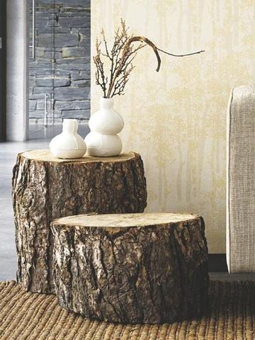 mesas rusticas de troncos pequeñas