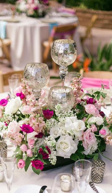 adornos de mesa para boda con velas