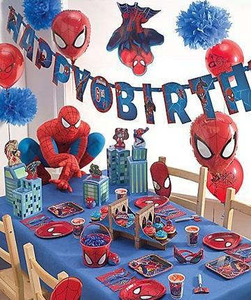 arreglos de mesa para piñatas de spiderman