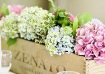 Esplendida decoracion con arreglos florales con hortensias