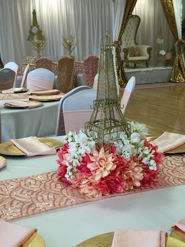 arreglos florales para quinceañeras tematica paris