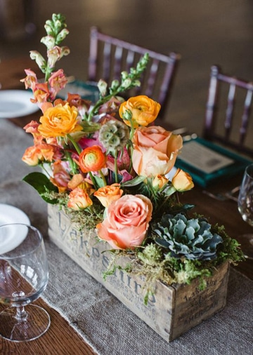 centros de mesa para boda civil con rosas