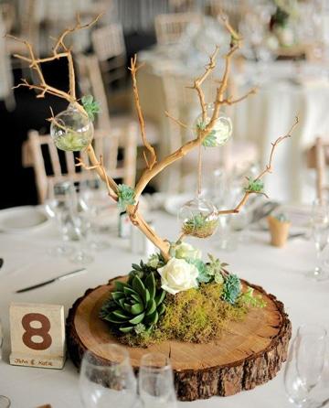 centros de mesa para boda civil con suculentas