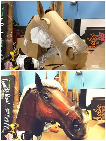 how to make a paper mache horse head