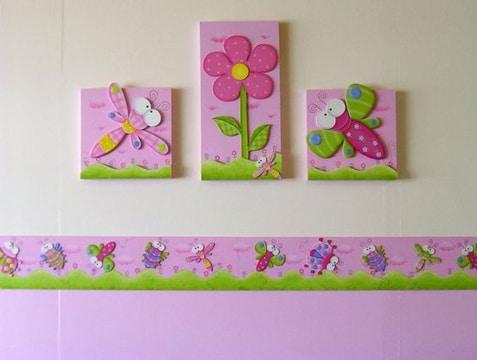 cuadros para habitacion de bebe decoracion rosa