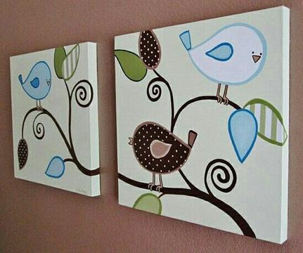 cuadros para habitacion de bebe pintados