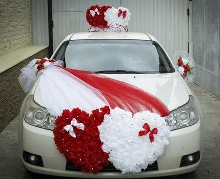 decoracion de carros para boda blanco rojo
