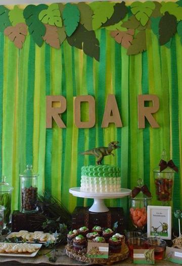 decoracion de fiesta de dinosaurios sencilla
