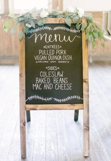 ejemplos de menus para bodas en pizarra