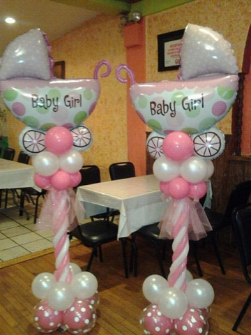 Adornos en figuras de globos para baby shower centros de for Salon baby cool