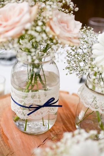 frascos de vidrio decorados para florero