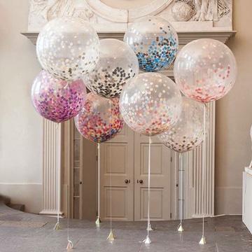 globos transparentes decorados con confeti