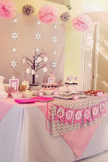 imagenes para baby shower niña mesa decorada
