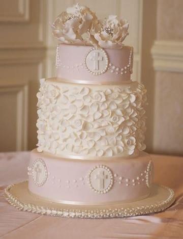 tortas de bautizo para niña decorada
