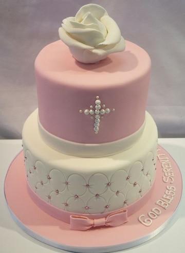 tortas de bautizo para niña sencilla