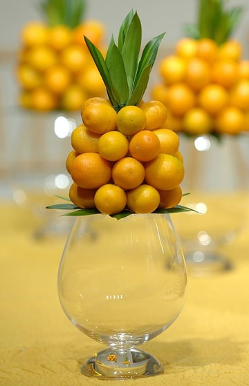 centros de mesa amarillos frutales