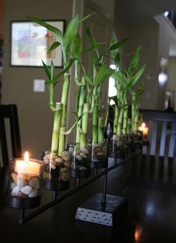 centros de mesa con bambu pequeños