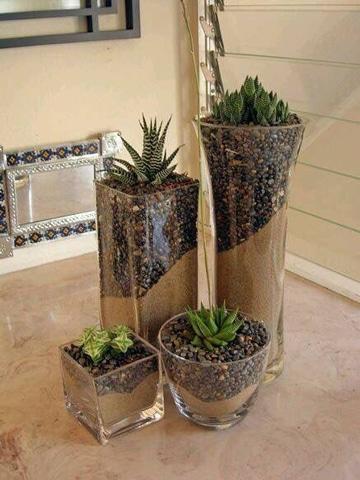 centros de mesa con cactus pequeños