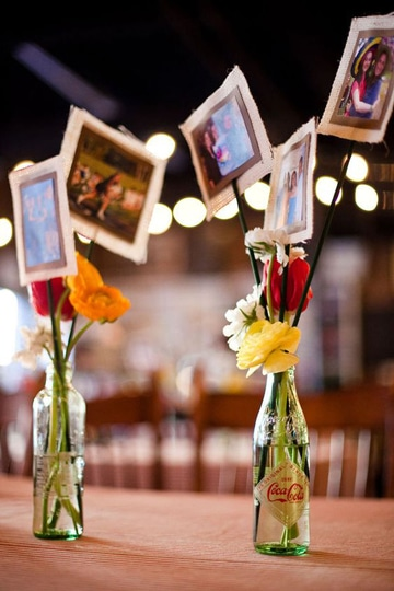centros de mesa con fotos de enamorados