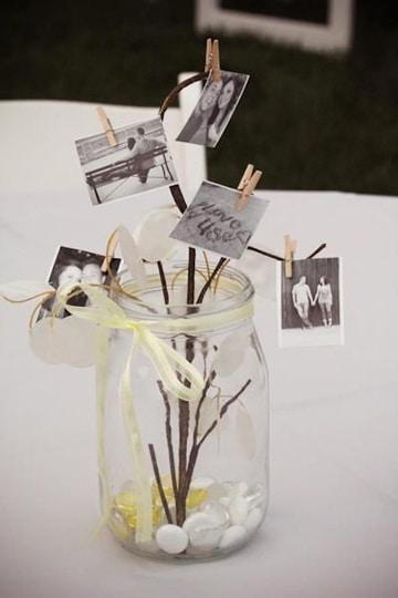centros de mesa con fotos pequeñas