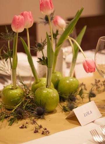 centros de mesa con manzanas bonitos