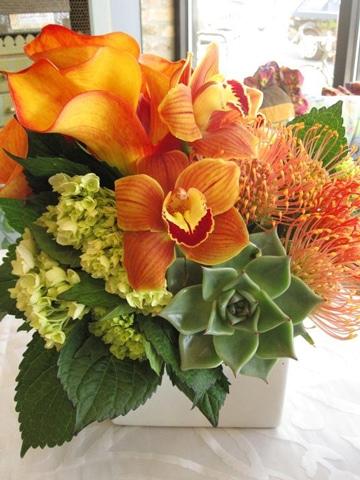 centros de mesa con orquideas y suculentas