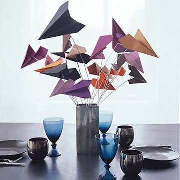 centros de mesa con papel de colores