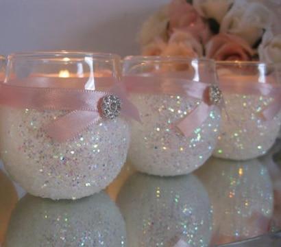 centros de mesa con vidrio decorado
