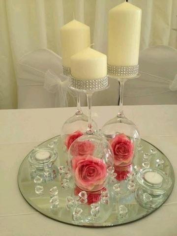 centros de mesa con vidrio romantico