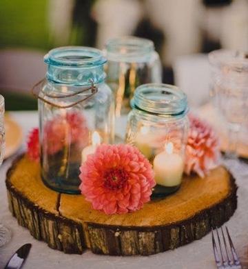 centros de mesa con vidrio y velas