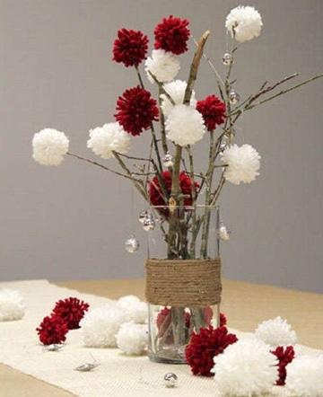centros de mesa rojos y blanco