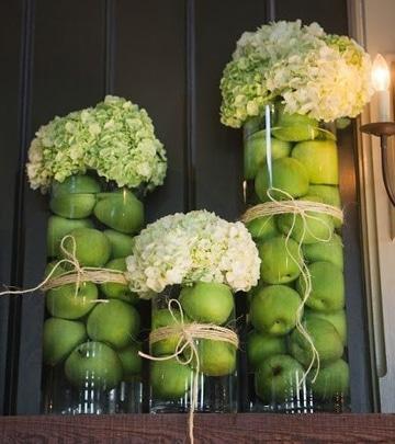 centros de mesa verdes con frutas