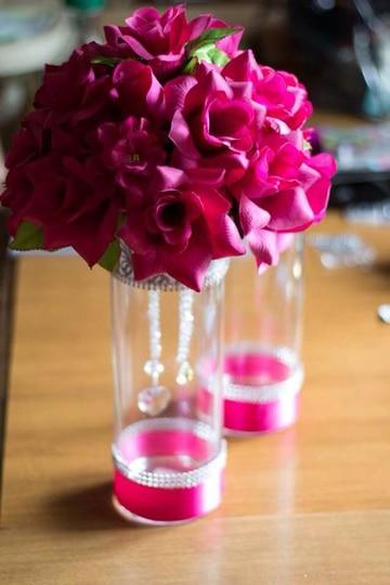 floreros de cristal para xv años sencillos