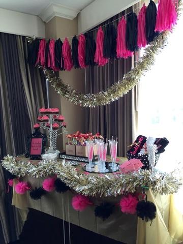 mesa de dulces para despedida de soltera glam