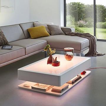 mesas de centro bajas con iluminacion
