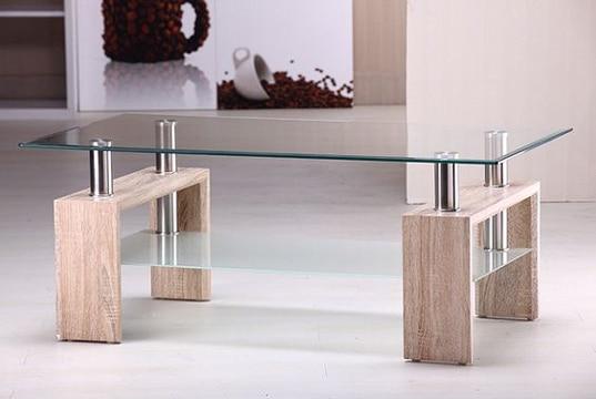 mesas de centro con cristal y madera