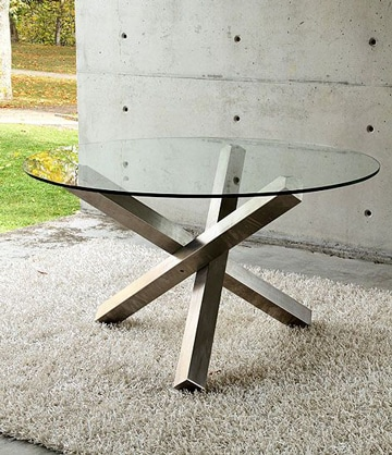 mesas de centro de cristal y acero circular