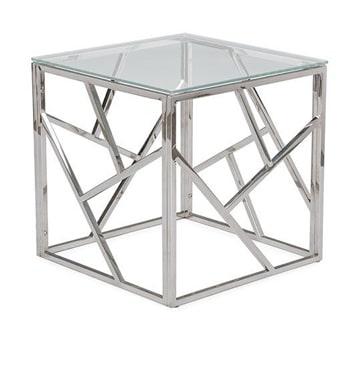 mesas de centro de cristal y acero cuadradas