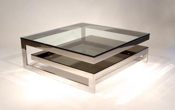mesas de centro de cristal y acero minimalistas