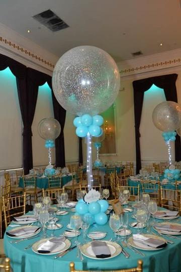 adornos de salon con globos para mesa