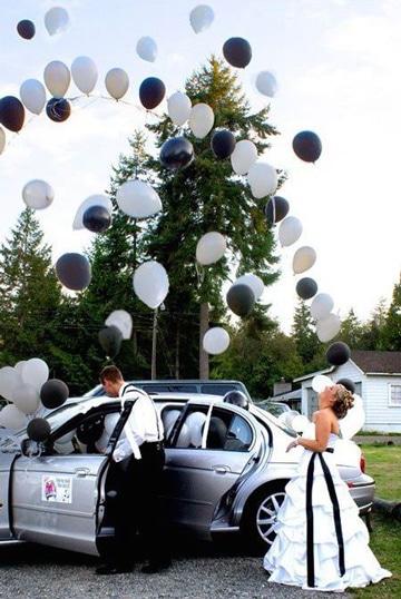adornos para boda con globos blanco negro