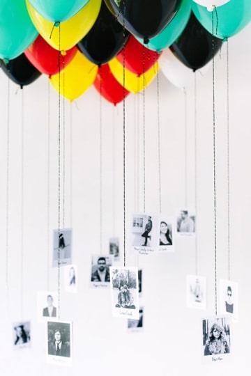 adornos sencillos con globos y fotos
