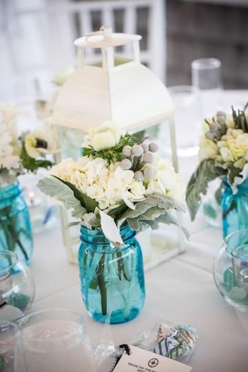 centros de mesa azul turquesa de vidrio