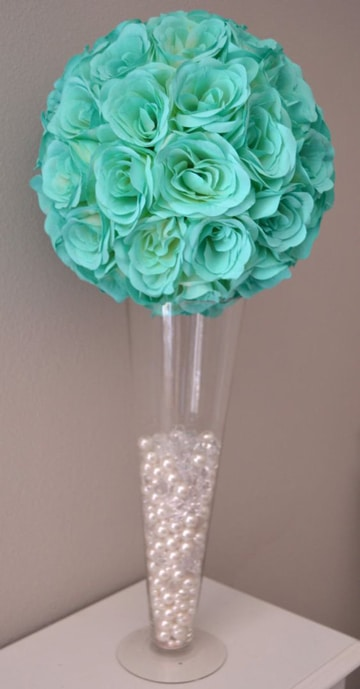 centros de mesa azul turquesa florales