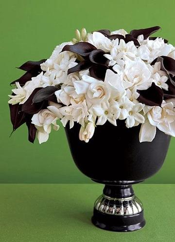 centros de mesa blanco y negro florales