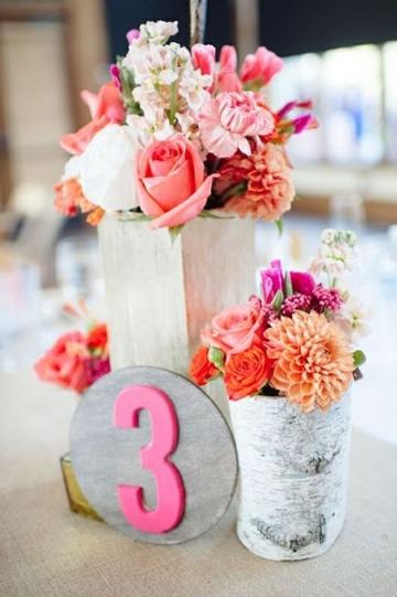 centros de mesa color coral para eventos
