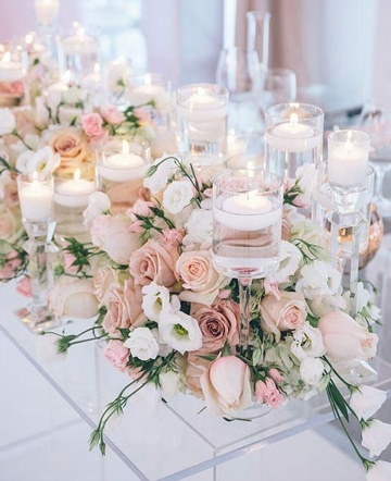 centros de mesa color rosa florales