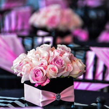 centros de mesa color rosa pequeños