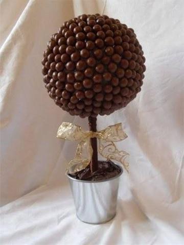 centros de mesa con chocolates en bolitas