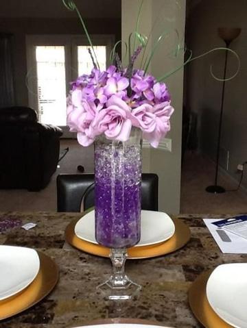 centros de mesa con hidrogel y flores
